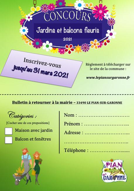 Bulletin Inscription Concours Pian Sur Garonne