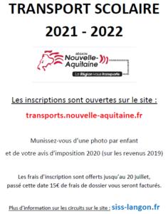 affiche transport scolaire 2021