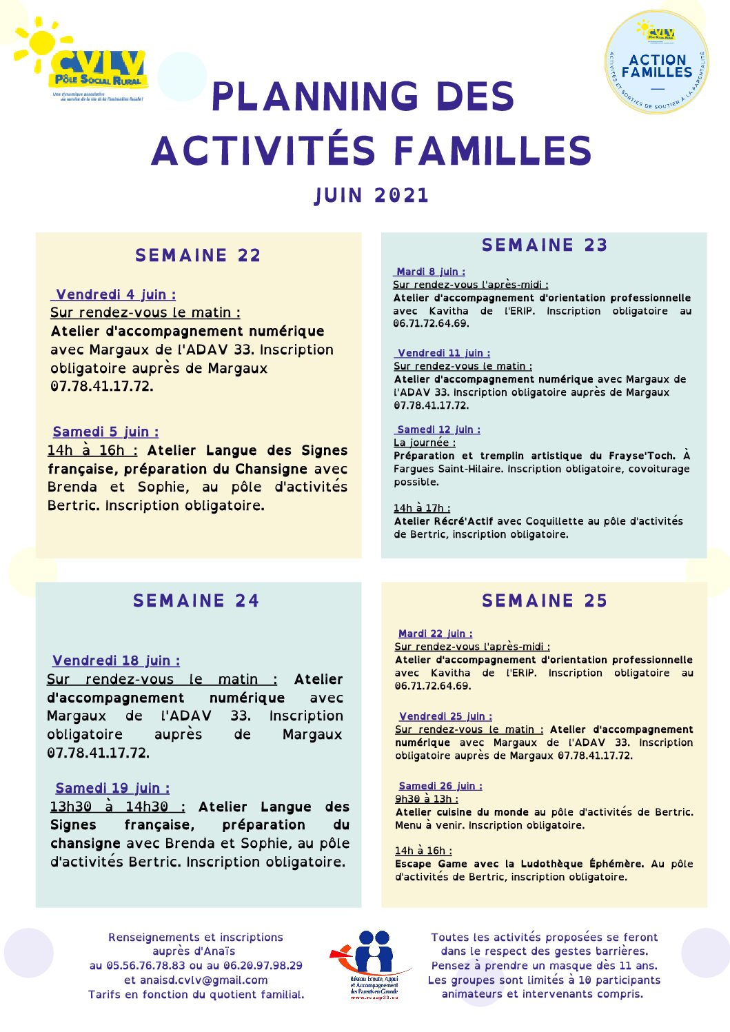 planning activités CVLV